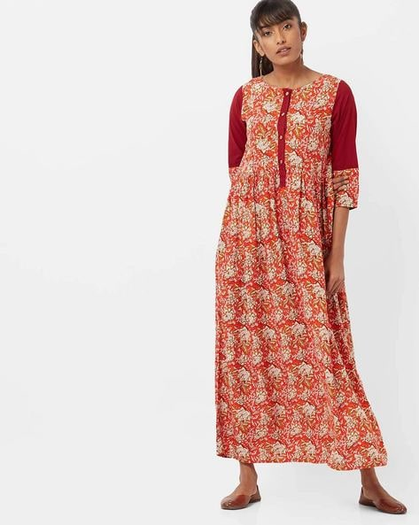 Floral Print A-line Kurta By Jaipur Kurti ( Orange )