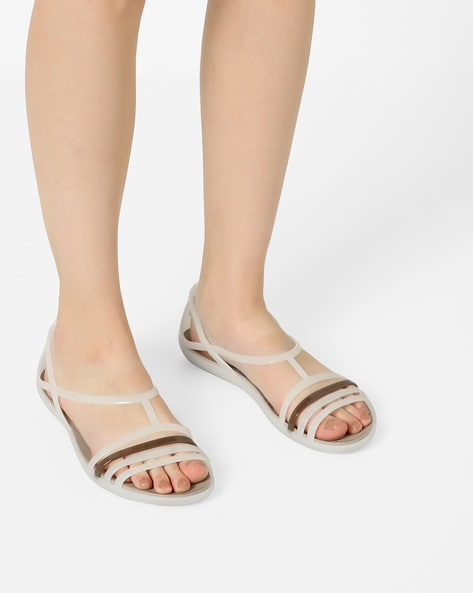 088828d2569508 CROCS Off-White Stylised Isabella Croslite Flat Sandals