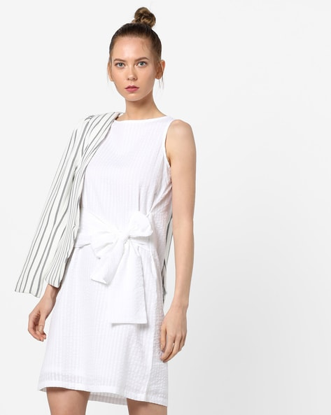 Self-Striped Sheath Dress With Bow Tie-Up By And ( White )