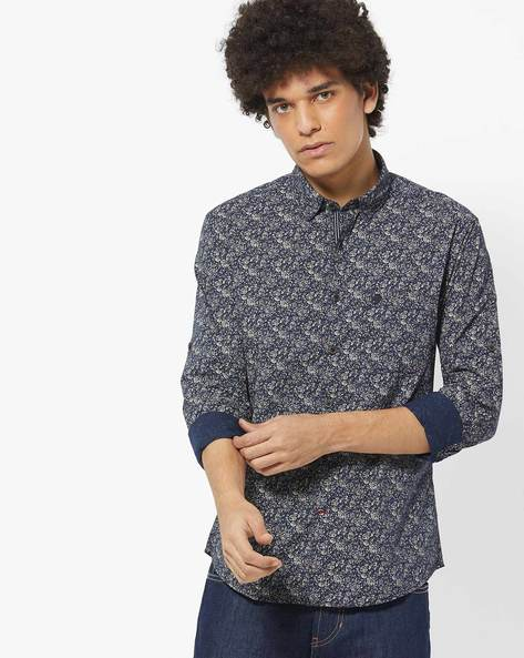 Printed Slim Fit Shirt By NETPLAY ( Navy )