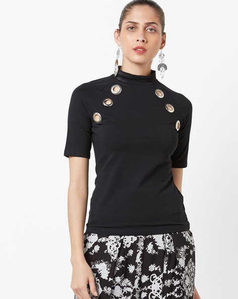 High-Neck Top With Eyelet Embellishment By AJIO ( Black )