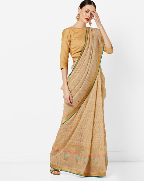 Woven Chevron Pattern Saree With Zari Border By Vastrangi ( Beige )