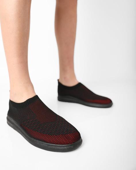 AJIO Black Slip-ons Low-Top Slip-On Casual Shoes