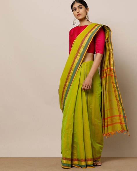 92696e2f3d984a Buy Lime Green Sarees for Women by Indie Picks Online | Ajio.com