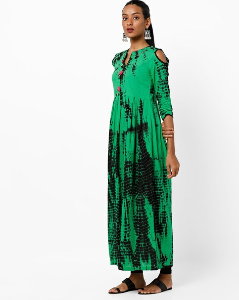 Printed Flared Kurta With Cold-Shoulder Sleeves By Rain & Rainbow ( Green )