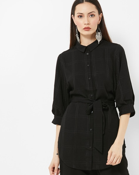 Checked High-Low Shirt With Waist Tie-Up By Vero Moda ( Black )