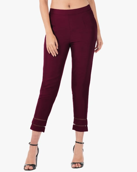 Pleated Cropped Pants With Mesh Inserts By Indya ( Purple )