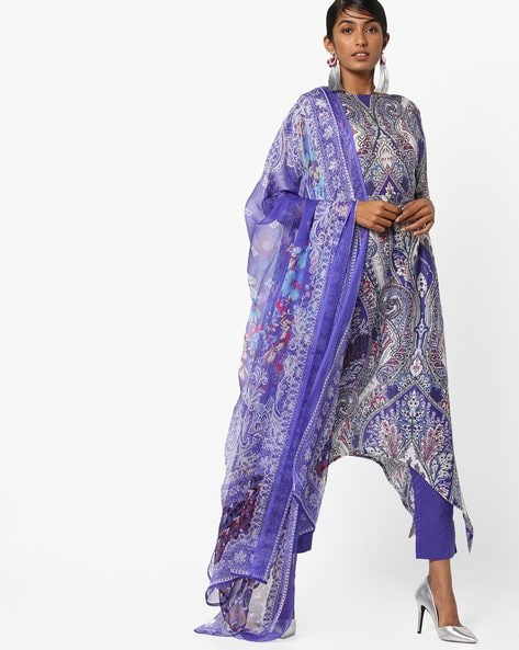 Printed Asymmetric Kurta With Pants & Dupatta By AJIO ( Blue )
