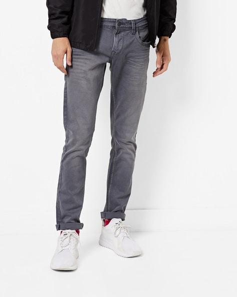 Lightly Washed Mid-Rise Skinny Jeans By INTEGRITI ( Grey )