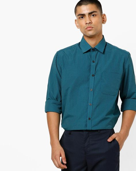 4c7b9596 NETWORK Green Classic Striped Shirt with Patch Pocket & Cutaway Collar