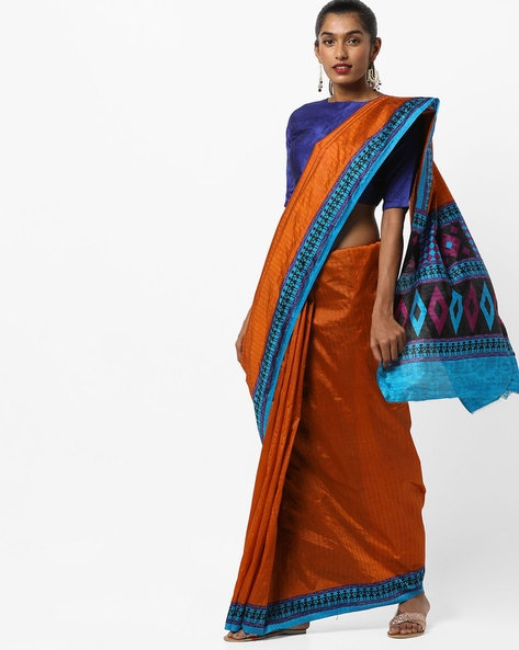 Saree With Contrast Printed Border By Amori ( Red )