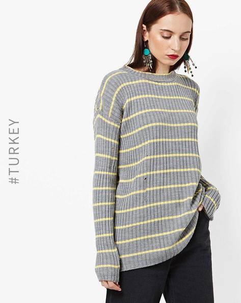 Striped Knit Sweater With Drop-Shoulder Sleeves By TRENDYOL ( Grey )