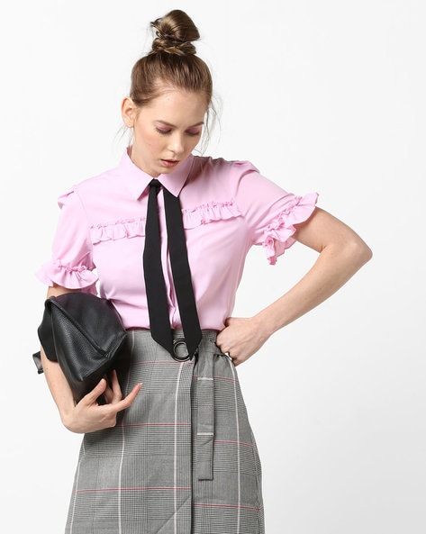 Ruffled Shirt With Front Tie-Up By AJIO ( Pink )
