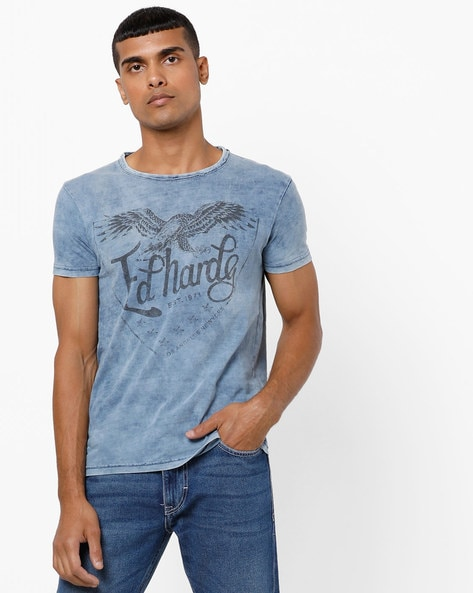Graphic Print T-shirt With Dyed Effect By ED HARDY ( Indigo )