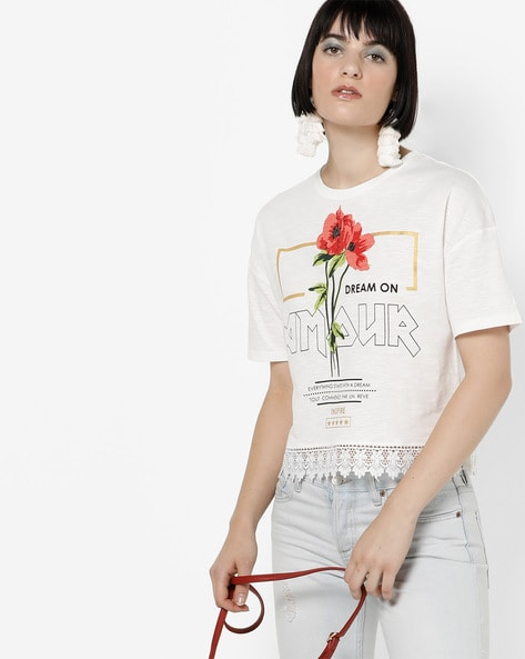 Printed Crew-Neck T-shirt With Lace Hem By AJIO ( Offwhite )
