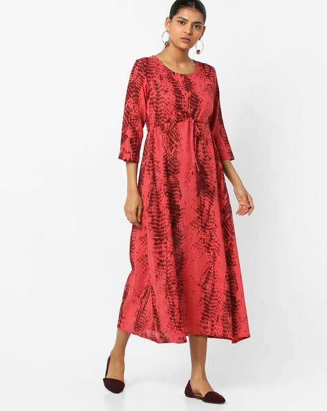 A-line Tie & Dye Kurta With Waist Tie-Up By ETHNIC CURRY ( Red )