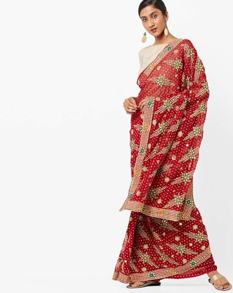 Bandhini Print Saree With Mirror Embroidery By Florence ( Maroon )