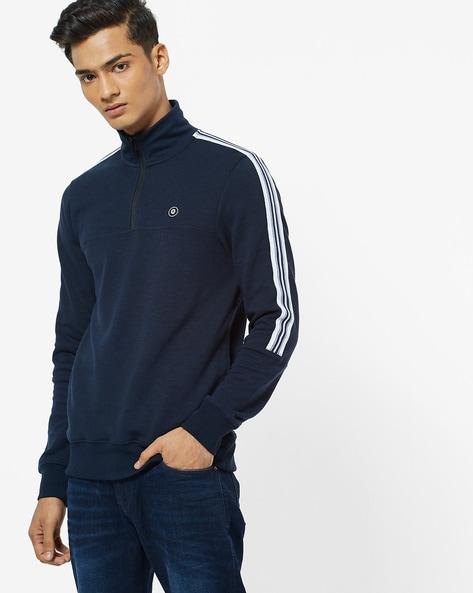 Zip-Front Sweatshirt With Sports Stripes By Jack & Jones ( Blue )