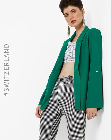 Open-Front Blazer With Notched Lapels By TALLY WEiJL ( Green )