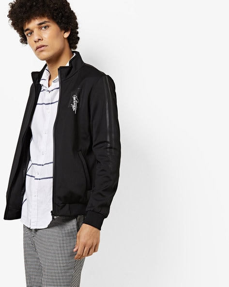 Zip-Front Sports Jacket With Insert Pockets By The Indian Garage Co ( Black )