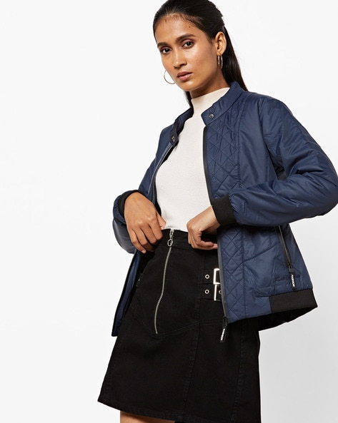 Zip-Front Jacket With Quilted Panels By Fort Collins ( Navyblue )