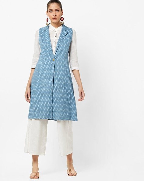 Printed Longline Jacket With Notched Lapel By AJIO ( Blue )
