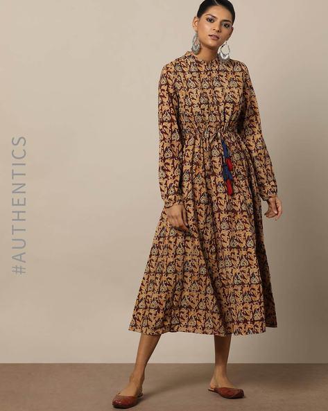Handblock Print Kalamkari Cotton A-line Dress By Indie Picks By AJIO ( Maroon )