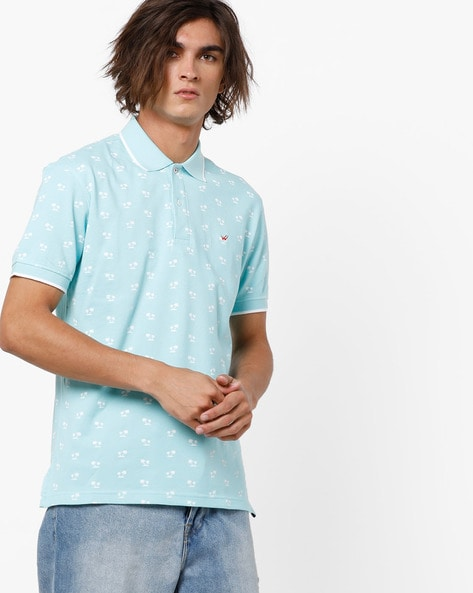 Slim Fit Tropical Print Polo T-shirt By Wills Lifestyle ( Clear )