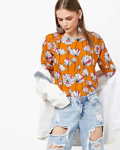 Floral Print Round-Neck Top By Breya ( Orange )
