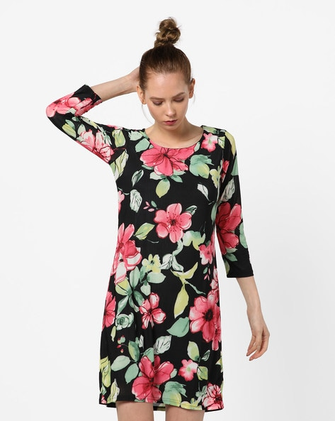 Floral Print Sheath Dress By And ( Black )