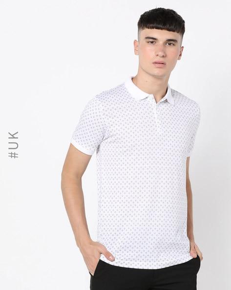 Micro-Print Polo T-shirt By BRAVE SOUL ( White )