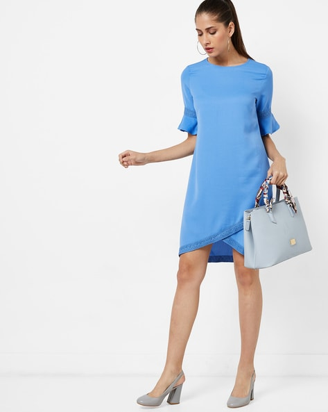 High-Low Dress With Flared Sleeves By AJIO ( Blue )