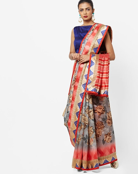 Floral Print Saree With Contrast Border By CHHABRA 555 ( Multicolour )