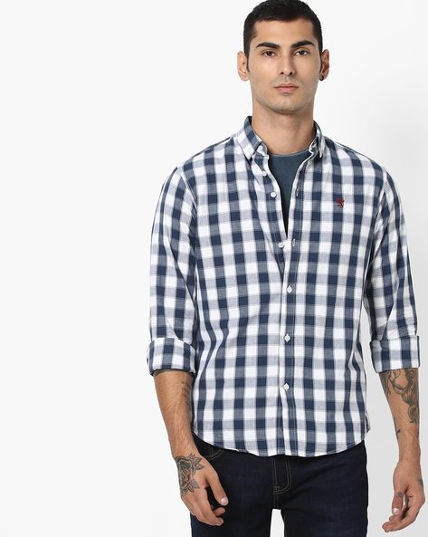 Checked Cotton Shirt With Button-Down Collar By RED TAPE ( Navyblue )