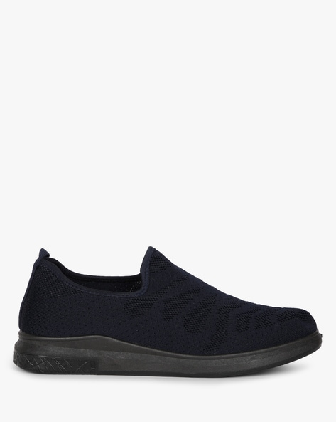 Low-Top Knitted Slip-On Sneakers By AJIO ( Navy )