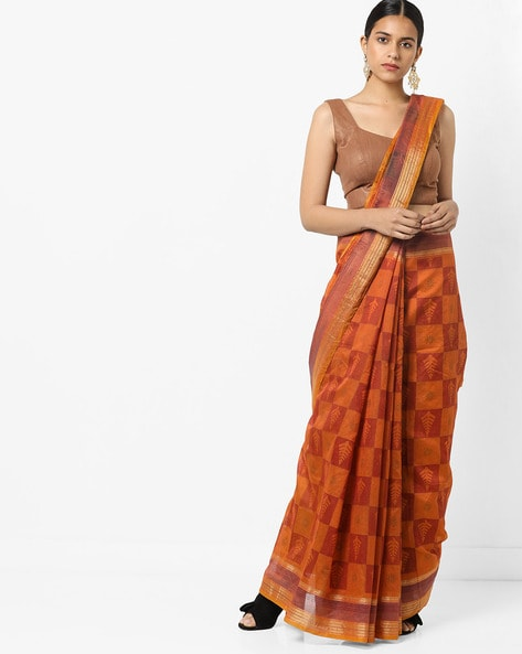 83bb0f3203 Buy Orange Sarees for Women by Florence Online | Ajio.com