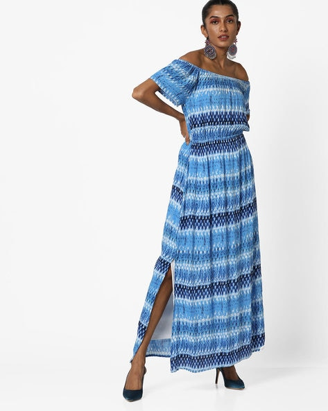 Printed Off-Shoulder Maxi Dress By Oxolloxo ( Blue )