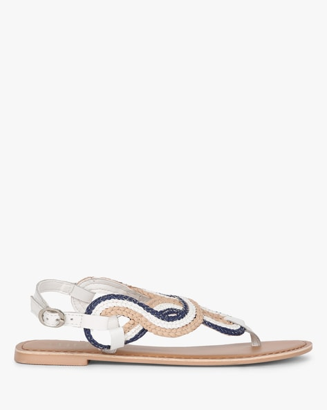 dc600636a2f THEEA Multicoloured Stylised Genuine Leather Strappy Sandals with Buckle  Closure