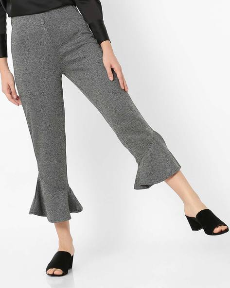 Slim Fit Pants With Flared Hems By CODE By Lifestyle ( Grey )