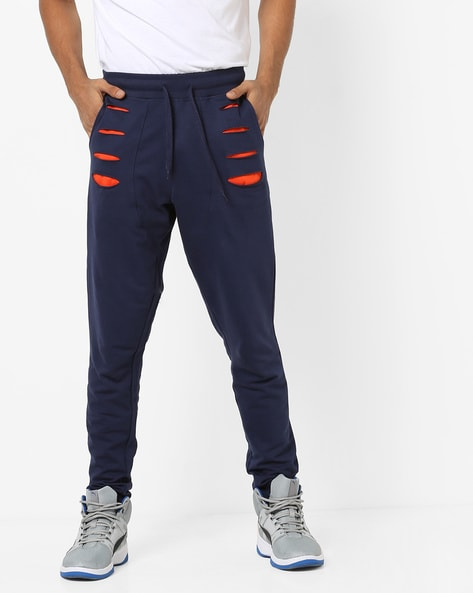 Joggers With Cutouts & Tie-Up Waist By Garcon ( Navy )