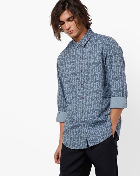 Printed Slim Fit Shirt With Curved Hemline By JOHN PLAYERS ( Blue )