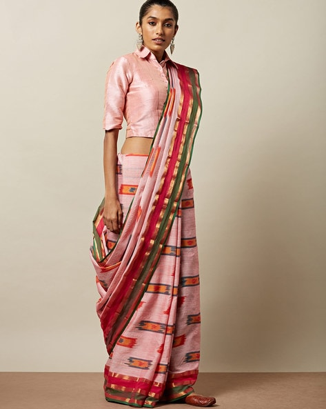 Ikat Cotton Saree With Zari Border By Indie Picks ( Pink )