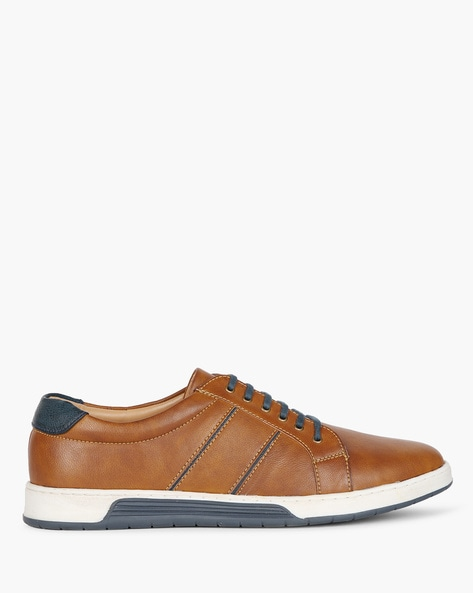 Panelled Low-Top Casual Shoes By AJIO ( Tan )