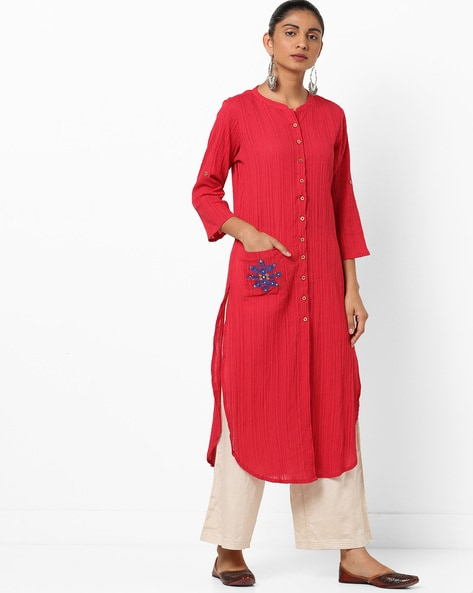Crinkled Straight Kurta With Patch Pocket By Global Desi ( Red )
