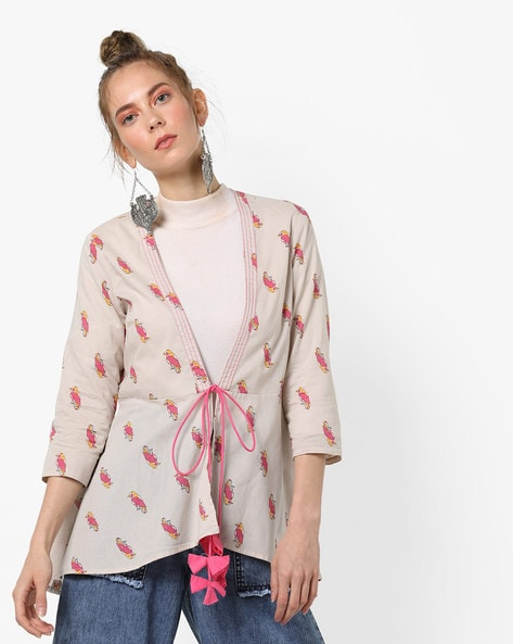 Bird Print Flared Jacket With Tassel Tie-Up By AJIO ( Grey )