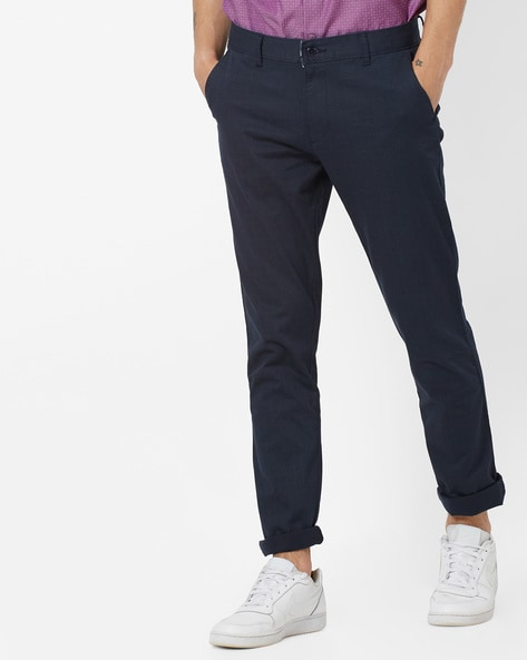 Checked Slim Fit Flat-Front Trousers By British Club ( Navyblue )