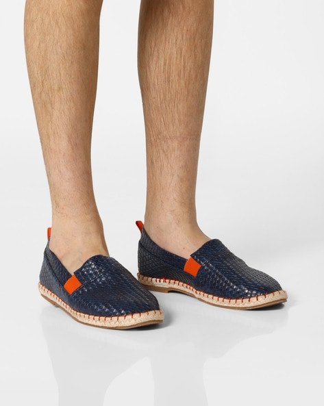 AJIO Navy Blue Slip-ons Basket-Weave Espadrilles with Elasticated Gussets 3e7ef14fc
