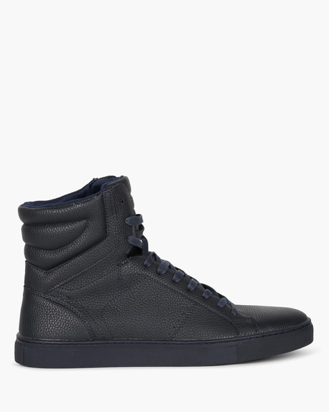 High-Top Lace-Up Sneakers With Perforations By AJIO ( Navy )