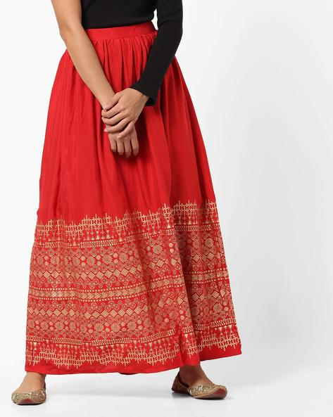 Foil Print Flared Maxi Skirt By Global Desi ( Red )