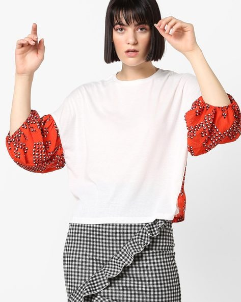 Top With Printed Drop-Shoulder Sleeves By AJIO ( Offwhite )